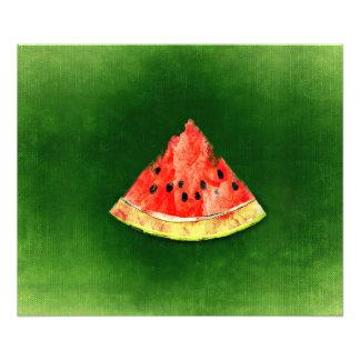 Slice of watermelon on green background art photo