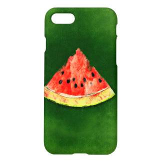 Slice of watermelon on green background iPhone 7 case