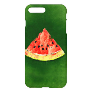Slice of watermelon on green background iPhone 7 plus case
