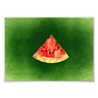 Slice of watermelon on green background photo