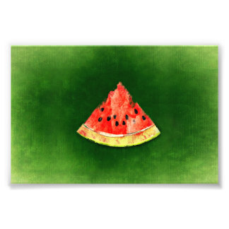 Slice of watermelon on green background photograph