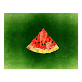 Slice of watermelon on green background postcard