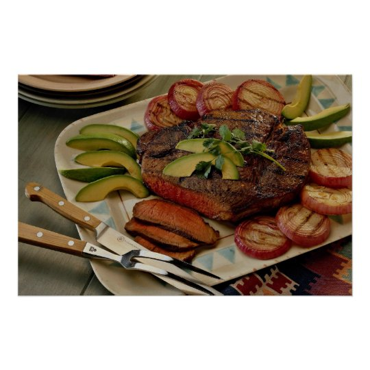 Sliced beef roast with grilled red onions and avoc poster