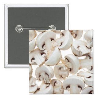 Sliced button mushrooms (agaricus bisporus), on