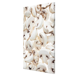 Sliced button mushrooms (agaricus bisporus), on canvas print