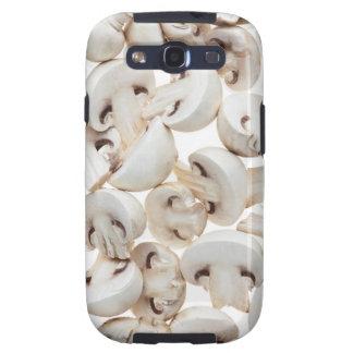 Sliced button mushrooms (agaricus bisporus), on galaxy s3 case