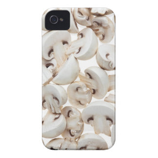 Sliced button mushrooms (agaricus bisporus), on Case-Mate iPhone 4 cases