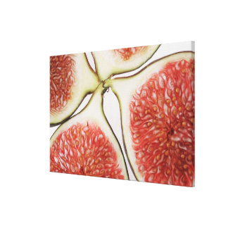 Sliced figs, close-up canvas print