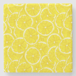 Sliced Lemon Pattern Stone Beverage Coaster