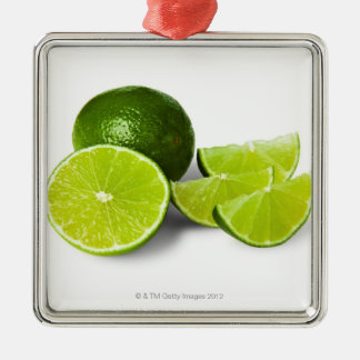 Sliced lime wedge, on white background, cut out christmas ornament