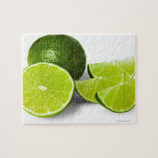 Sliced lime wedge, on white background, cut out jigsaw puzzle
