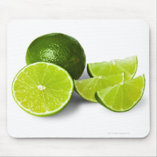 Sliced lime wedge, on white background, cut out mouse pad
