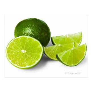 Sliced lime wedge, on white background, cut out postcards