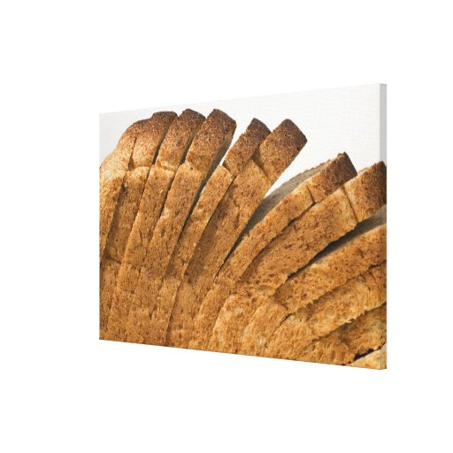 Sliced loaf of bread stretched canvas print
