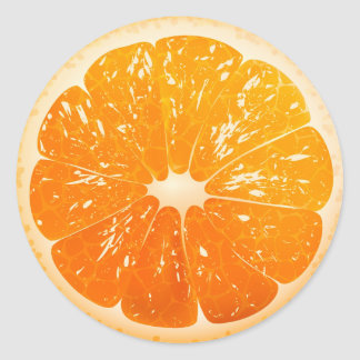 Sliced Orange Classic Round Sticker