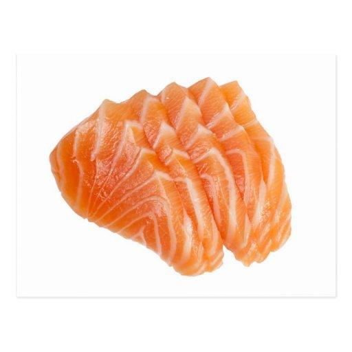Sliced salmon post card