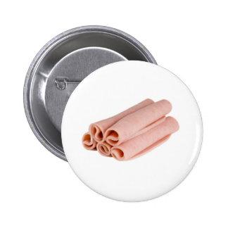 Slices of ham 6 cm round badge