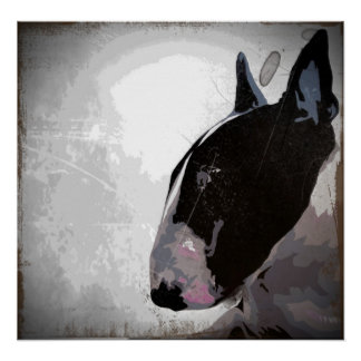 slick English Bull Terrier art poster