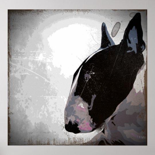 slick English Bull Terrier art poster