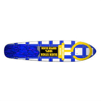 slick stick skateboard in yellow black and blue