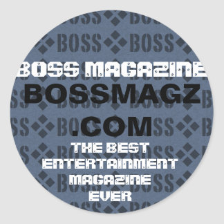 slide.001, BOSSMAGZ .COM, THE BESTENTERTAINMENT... Round Sticker