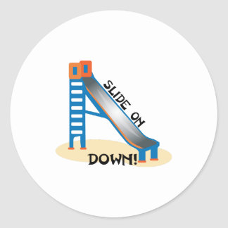 Slide on Down Round Sticker