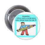 slide rule math humour 6 cm round badge