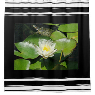 Slider Turtle Waterlily Flowers Animal Wildlife Shower Curtain