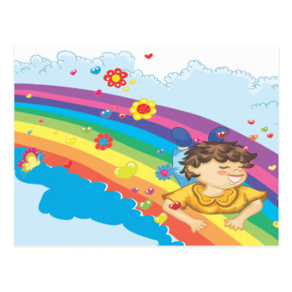sliding down a rainbow happy vector illustration postcard