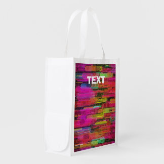 Sliding Florescent Washed Abstract Reusable Grocery Bag