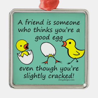 Slightly Cracked Funny Best Friend Saying Silver-Colored Square Decoration