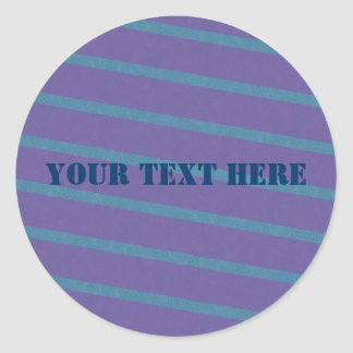 Slightly Diagonal Stripes in Purple and Blue Round Sticker