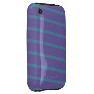Slightly Diagonal Stripes in Purple and Blue Tough iPhone 3 Covers