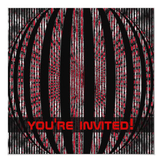 """Slightly Spacy Red Party Invitations 5.25"""" Square Invitation Card"""