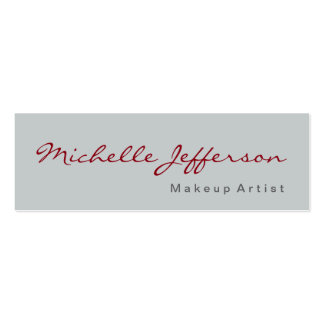 Slim Calligraphy Grey Makeup Artist Business Card