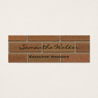 Slim Handwriting Modern Trend Wall Bricks Brown Mini Business Card