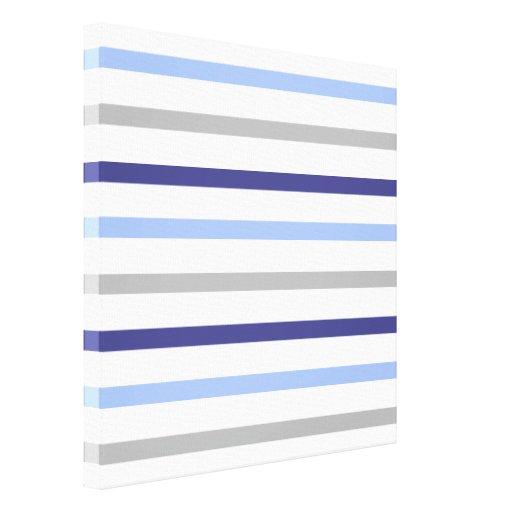 Slim Horizontal Stripes White Grey & Blues Stretched Canvas Print