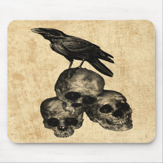 Slim Pickings Crow Skulls Gothic Art Mousepad