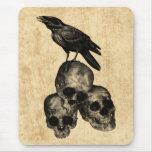 Slim Pickings Crow Skulls Gothic Art Mousepad
