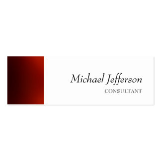 Slim Plain Red White Professional Business Card