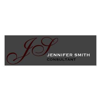 slim Skinny Monogram Consultant Grey Business Card