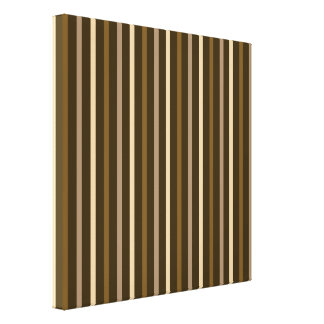 Slim Vertical Stripes Cream & Browns Gallery Wrapped Canvas