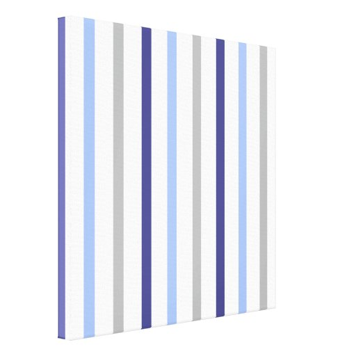 Slim Vertical Stripes White Grey & Blues Gallery Wrap Canvas