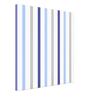 Slim Vertical Stripes White Grey & Blues Canvas Print
