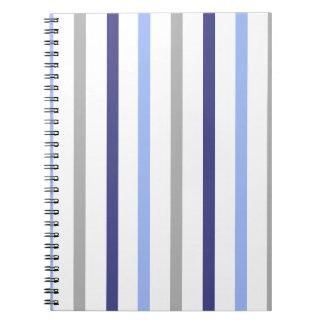 Slim Vertical Stripes White Grey & Blues Notebooks