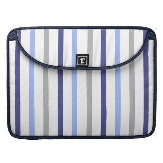 Slim Vertical Stripes White Grey & Blues Sleeve For MacBook Pro