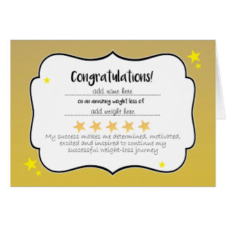 Slimming Club Gold Star Weightloss Certificate Card