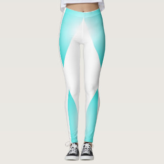 Slimming Turquoise White Dancers Sporty Chic Leggings