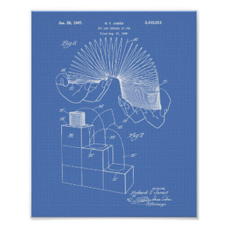 Slinky Toy 1946 Patent Art - Blueprint Poster