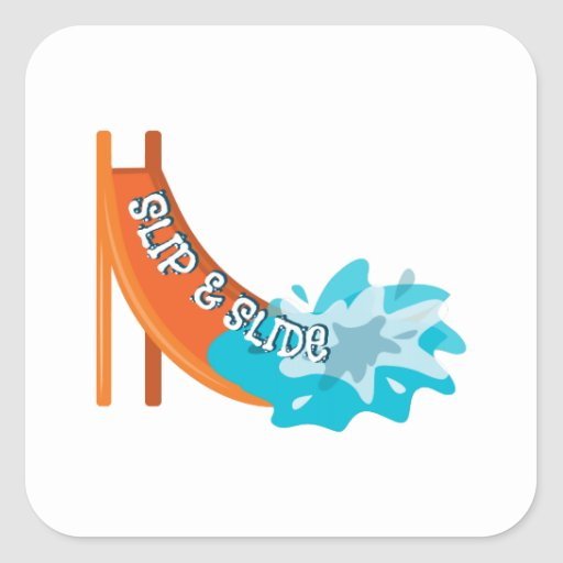 Slip And Slide Square Stickers
